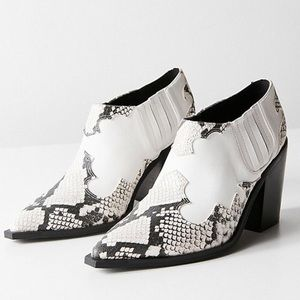 UO Western Ankle Boot - White Booties w/ snakeskin